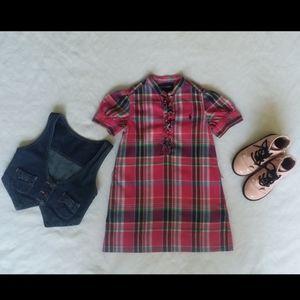 💕Pretty Pink Plaid Little Girls Dress- Size 4T